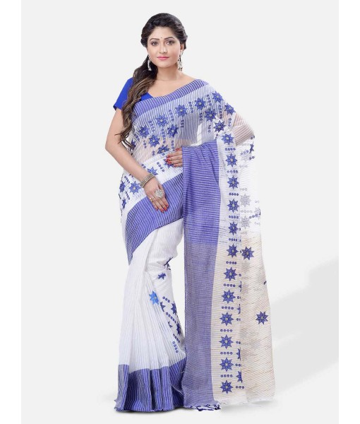 Pure Cotton Handloom Traditional Khadi Bengali Tant Saree Very Soft Cotton Materials Star Design With Blouse Piece (Blue White)