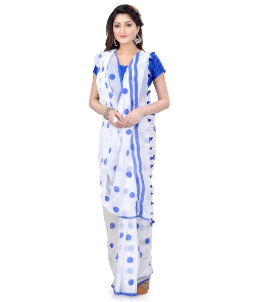 Women`s Traditional Hand Woven Malmal Bengal Handloom Pure Cotton Saree Without Blouse Piece (Blue White)