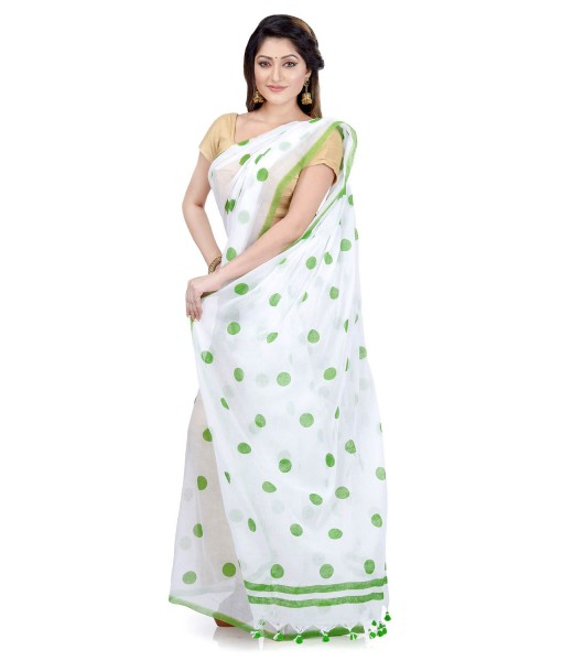 Women`s Traditional Hand Woven Malmal Bengal Handloom Pure Cotton Saree Without Blouse Piece (Green White)