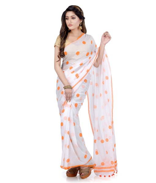Women`s Traditional Hand Woven Malmal Bengal Handloom Pure Cotton Saree Without Blouse Piece (Orange White)