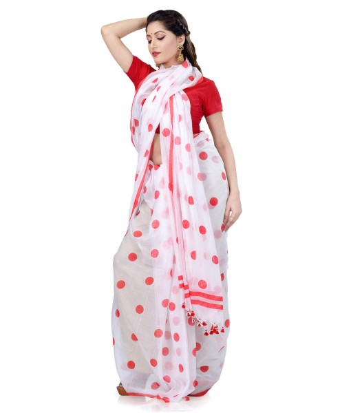 Women`s Traditional Hand Woven Malmal Bengal Handloom Pure Cotton Saree Without Blouse Piece (Red White)