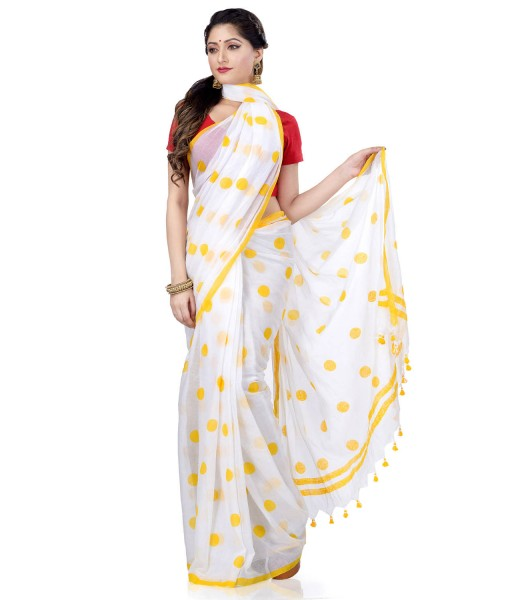 Women`s Traditional Hand Woven Malmal Bengal Handloom Pure Cotton Saree Without Blouse Piece (Yellow White)
