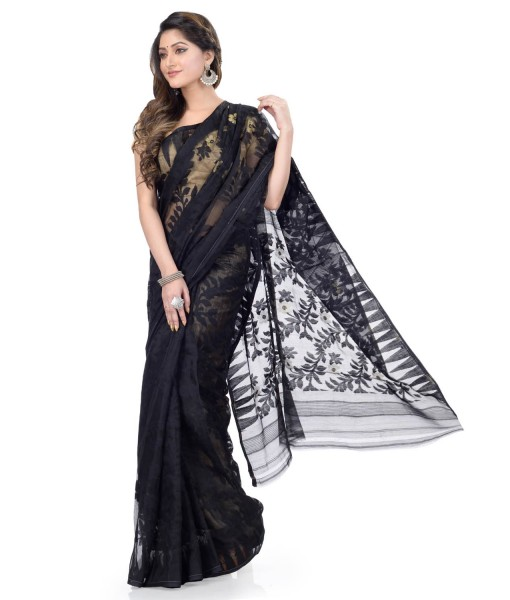 Traditional Bengal Handloom Black Resham Dhakai Jamdani Cotton Saree Whole Body Design