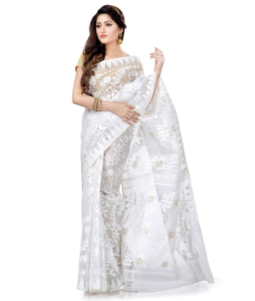Traditional Bengal Handloom White Resham Dhakai Jamdani Cotton Saree Whole Body Design