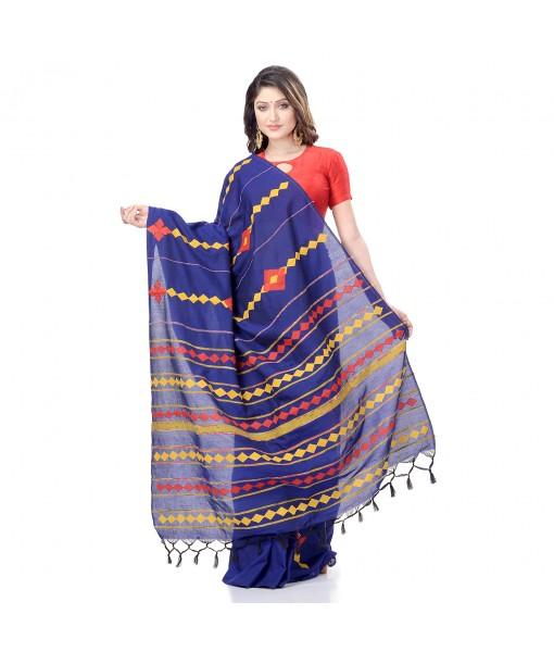 DESH BIDESH Women`s Bengali Khesh Pure Cotton Handloom Saree Diamond Designed With Blouse Piece(Blue)