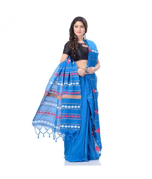 DESH BIDESH Women`s Bengali Khesh Pure Cotton Handloom Saree Diamond Designed With Blouse Piece(Sky Blue)