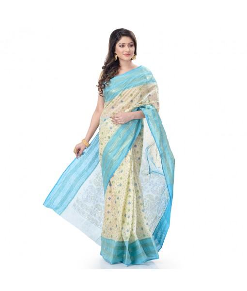 DESH BIDESH Women`s Bengal Tant Jamdani Print Design Pure Handloom Cotton Saree Without Blouse Piece (Blue)
