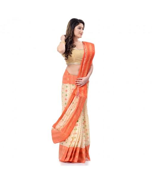 DESH BIDESH Women`s Bengal Tant Jamdani Print Design Pure Handloom Cotton Saree Without Blouse Piece (Orange)