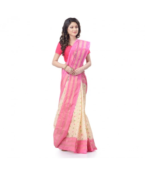 DESH BIDESH Women`s Bengal Tant Jamdani Print Design Pure Handloom Cotton Saree Without Blouse Piece (Pink)