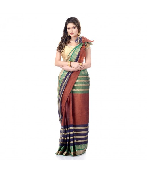 DESH BIDESH Women`s Traditional Bengal Tant Woven 3D Temple Design Pure Handloom Cotton Saree Without Blouse Piece (Brown)