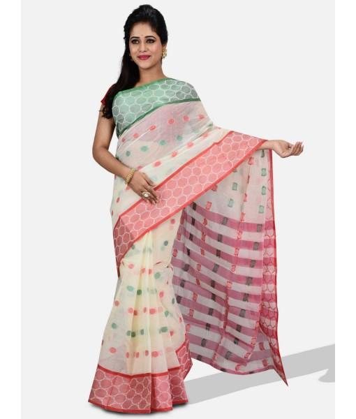 "Pure Cotton – Traditional Bengali Tant Saree – Cotton and Jori Fancy Work –"" Ganga Jamuna"" Color Jori Work Border (Red Off-White Green)"