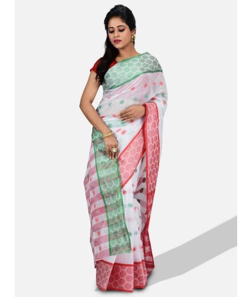 "DESH BIDESH - Pure Cotton Tricolour Saree – Cotton Handloom and Jori Fancy Work –"" Ganga Jamuna"" Color Jori Work Border (Red White Green)"