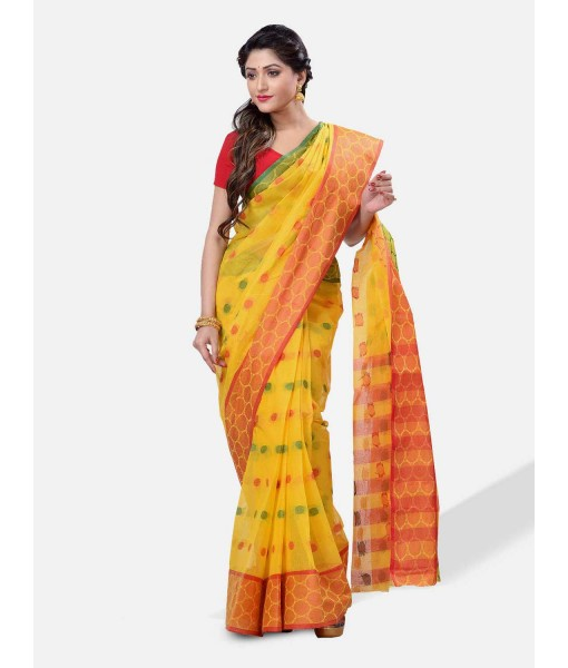 Women Ganga Jamuna Bengal Handloom Cotton Tant Saree Without Blouse Piece (DBGANGAJ5_yellow_red)