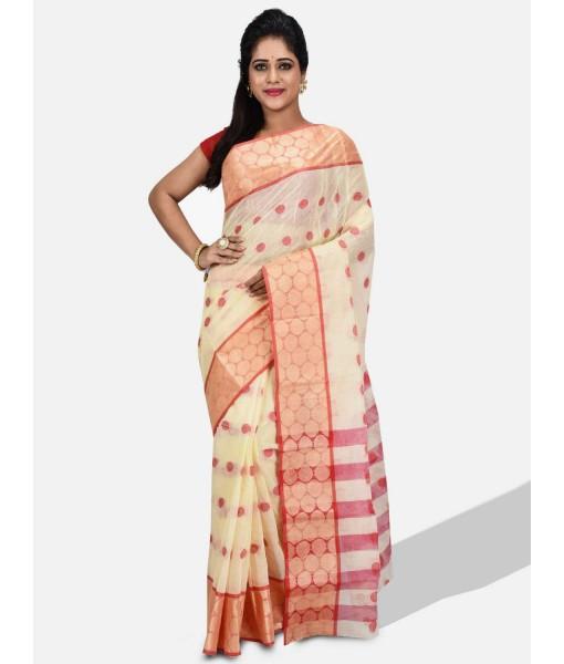 Women Ganga Jamuna Bengal Handloom Cotton Tant Saree Without Blouse Piece (DBGANGAJ1_offwhite_red)