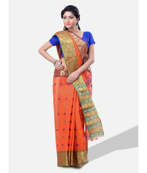 Women Ganga Jamuna Bengal Handloom Cotton Tant Saree Without Blouse Piece (DBGANGAJ6_orange_blue)