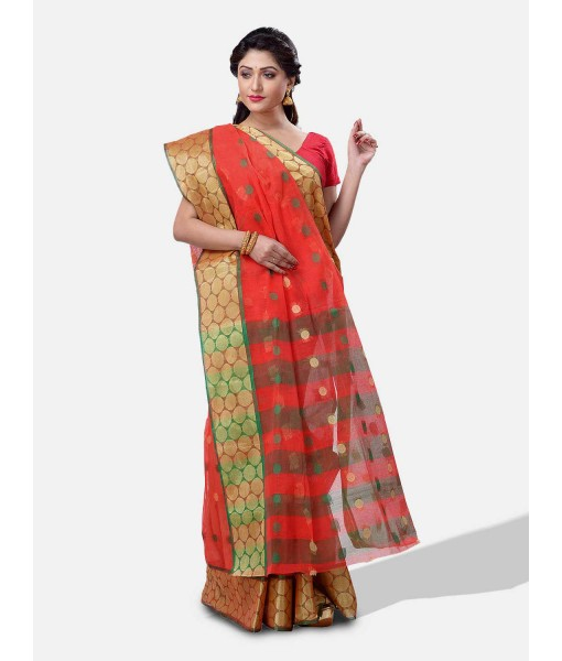 """Pure Cotton – Traditional Bengali Tant Saree – Cotton and Jori Fancy Work –"""" Ganga Jamuna"""" Color Jori Work Border (Red Green)"""
