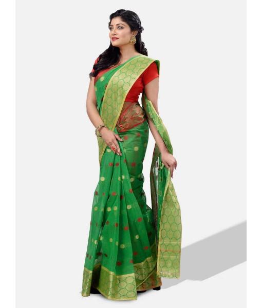 """Pure Cotton – Traditional Bengali Tant Saree – Cotton and Jori Fancy Work –"""" Ganga Jamuna"""" Color Jori Work Border"""