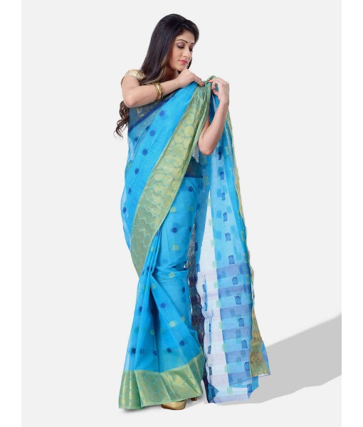 Women Ganga Jamuna Bengal Handloom Cotton Tant Saree Without Blouse Piece (DBGANGAJ4_blue_golden)