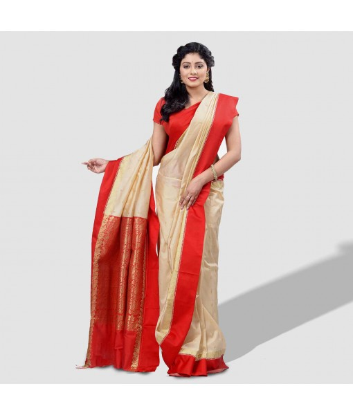 Women`s Bengal Garad Silk Traditional Saree Fine Smooth All Over Work With Blouse Pcs Garadh Bengal Garad Silk Saree (Off-White and Red)