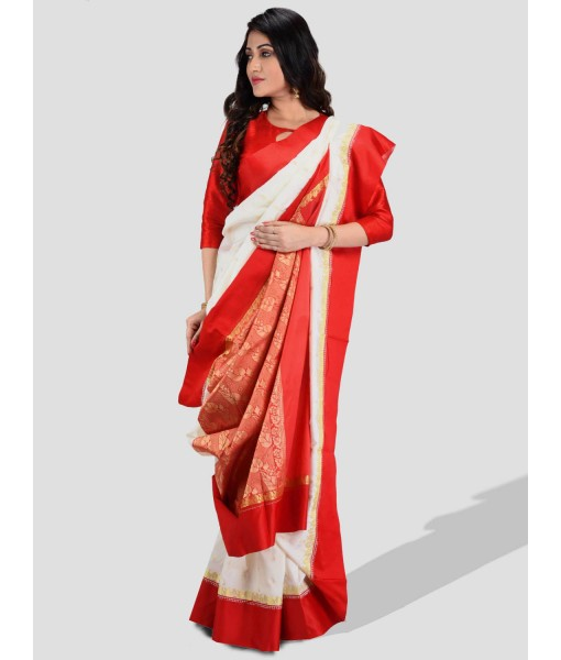 Bengal Garad Silk Saree Fine Smooth Garad With Blouse Pcs. Handmade Exclusive leaf with Kalka with Whole Body Design (White and Red)