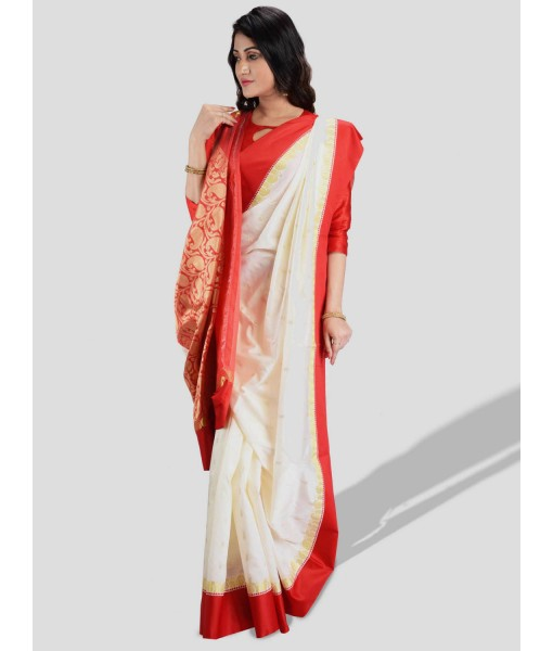 Women`s Bengal Garad Silk Saree Fine Smooth Garad Silk Saree With Blouse Pcs. Handmade Exclusive Flower with Kalka with Whole Body Design (White and Red)