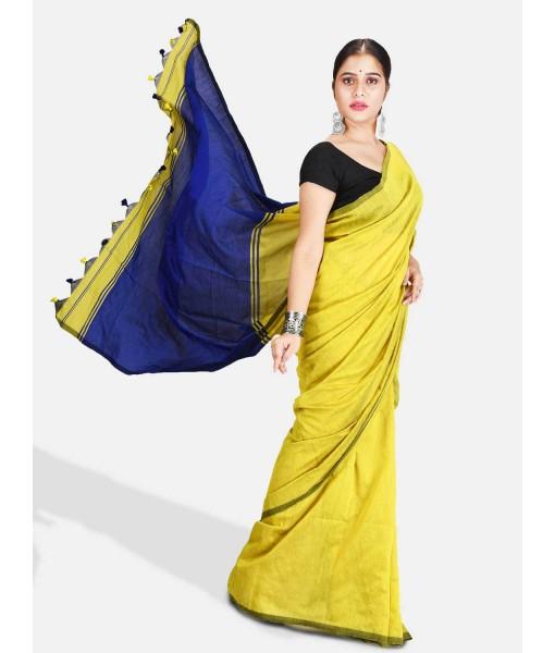 DESH BIDESH Women`s Cotton Silk and Bengal Soft Khadi Cotton Mix Ghicha Handloom Saree With Blouse Piece (GreenYellow Light Blue)