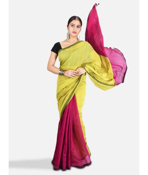 DESH BIDESH Women`s Cotton Silk and Bengal Soft Khadi Cotton Mix Ghicha Handloom Saree With Blouse Piece (Light Yellow Green Pink)