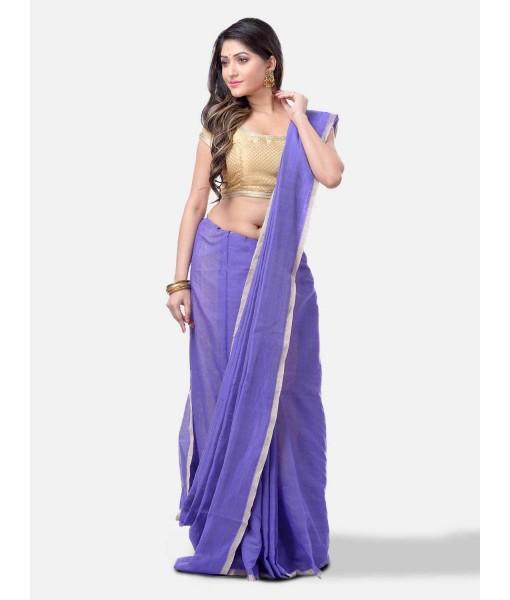 Women`s Cotton Silk and Bengal Soft Khadi Cotton Mix Ghicha Handloom Saree With Blouse Piece (Purple)