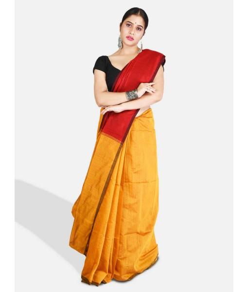 DESH BIDESH Women`s Cotton Silk and Bengal Soft Khadi Cotton Mix Ghicha Handloom Saree With Blouse Piece (Yellow Red)