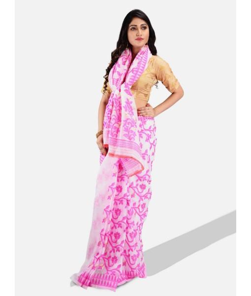 Handloom Soft Resham Dhakai jamdani Bengal Cotton Silk Tant Saree Whole Body Design with Blouse Pcs (Pink White)