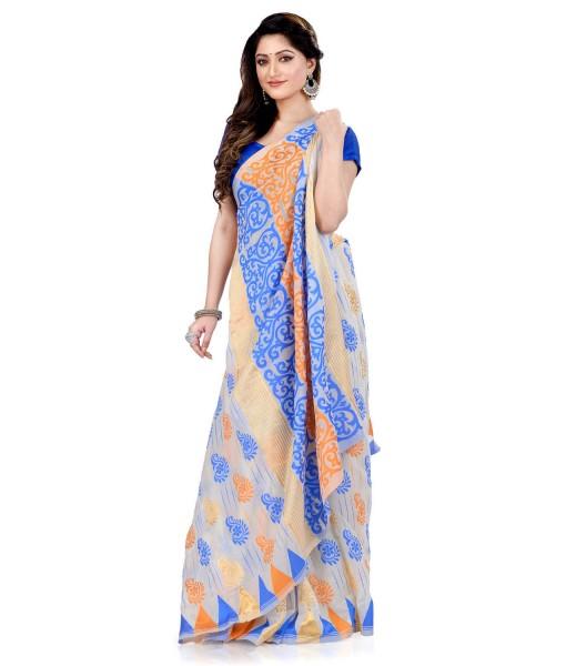 Women`s Handloom Soft Resham Dhakai jamdani Bengal Cotton Silk Tant Saree Whole Body Kolka Design with Blouse Pcs (Blue Orange)