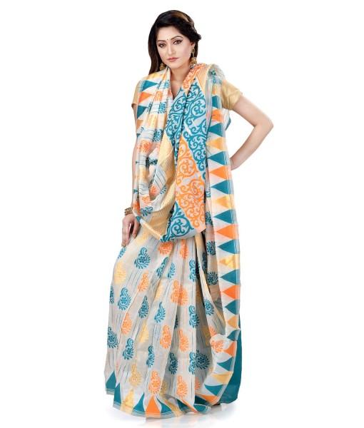 Women`s Handloom Soft Resham Dhakai jamdani Bengal Cotton Silk Tant Saree Whole Body Kolka Design with Blouse Pcs (Deep Blue Orange)