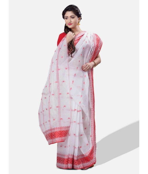 Red and White Pure Handloom Cotton Traditional Bengal Tant Saree with Handmade Whole Body Kalkatara Design Without Blouse Piece