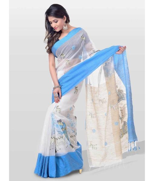 Women's Traditional Bengali Khadi Cotton Handloom Sakuntala Tant Saree of Bengal with Blouse Piece (Blue White)