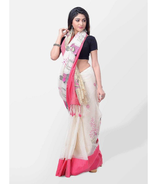 Women's Traditional Bengali Cotton Handloom Sakuntala Tant Saree of Bengal with Blouse Piece (Pink White)