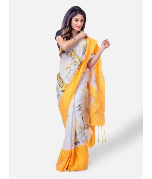 Women's Traditional Bengali Cotton Handloom Sakuntala Tant Saree of Bengal with Blouse Piece (Yellow White)