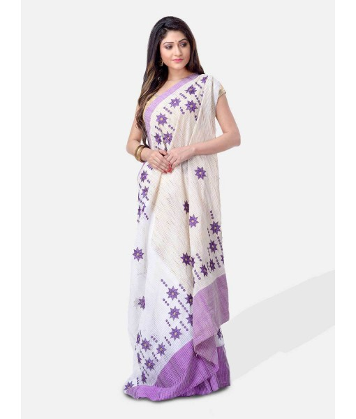 Pure Cotton Handloom Traditional Khadi Bengali Tant Saree Very Soft Cotton Materials Star Design With Blouse Piece (Purple White)