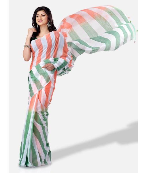 Women`s Pure Malmal Cotton and Bengal Soft Khadi Mul Mul Handloom Cotton Saree in Tricolour (Orange White Green)