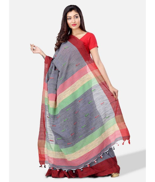 Pure Cotton Traditional Bengali Handloom Tant Saree Very Soft Cotton Materials Clical Desigined With Blouse Pcs (Grey Red Green)