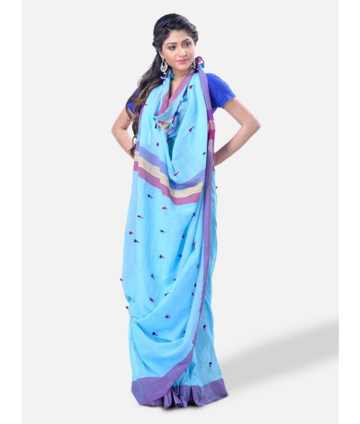 """Pure Cotton 100% Traditional Bengali Handloom Tant Saree Very Soft Cotton Materials""""Clical Desigined"""" With Blouse Piece(Sky Blue Pink)"""