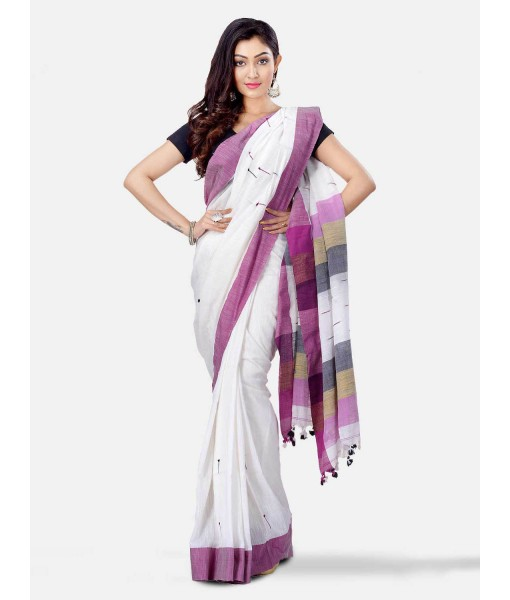 Pure Cotton Traditional Bengali Handloom Tant Saree Very Soft Cotton Materials Clical Desigined With Blouse Pcs (White Purple Grey)