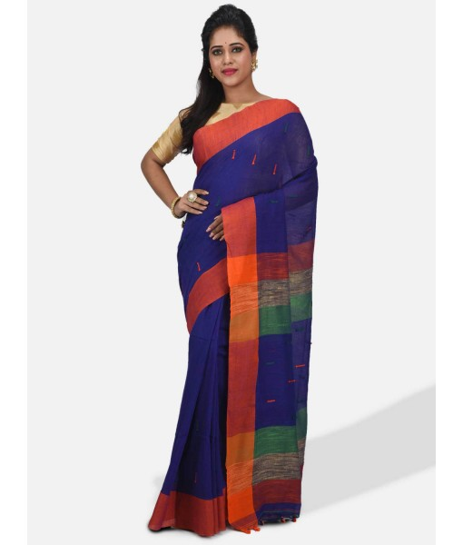 Women Traditional Handloom Woven Design Bengal Khadi Cotton Tant Saree With Blouse Piece