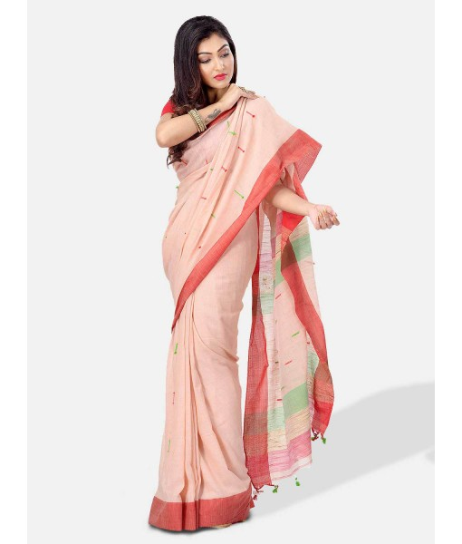 Pure Cotton Traditional Bengali Handloom Tant Saree Very Soft Cotton Materials Clical Desigined With Blouse Pcs (Off-Red Red Green)