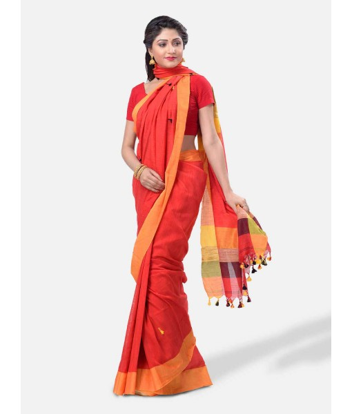 """Pure Cotton 100% Traditional Bengali Handloom Tant Saree Very Soft Cotton Materials""""Clical Desigined"""" With Blouse Piece (Red Yellow Black)"""