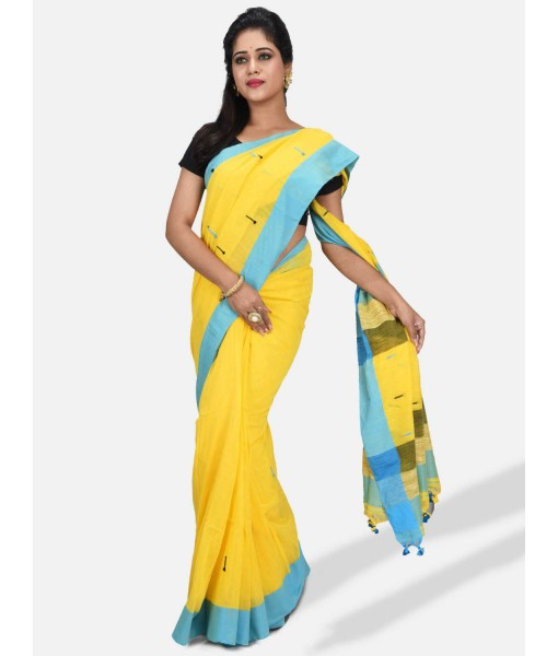 """Pure Cotton 100% Traditional Yellow Bengali Handloom Tant Saree Very Soft Cotton Materials""""Clical Desigined"""" With Blouse Picas"""