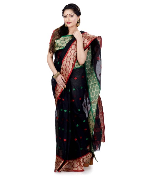 Women`s Pure Cotton Traditional Bengal Handloom Tant Ganga Jamuna Design Saree Without Blouse Piece