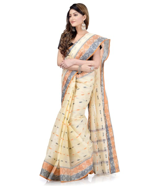 Women Pure Bengal Tant Traditional Handloom Bengali Cotton Saree Noyonchuri Design Without Blouse Piece