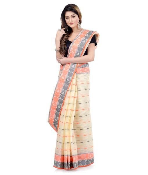 Women Pure Bengal Tant Traditional Handloom Bengali Cotton Saree Noyonchuri Design Without Blouse Piece