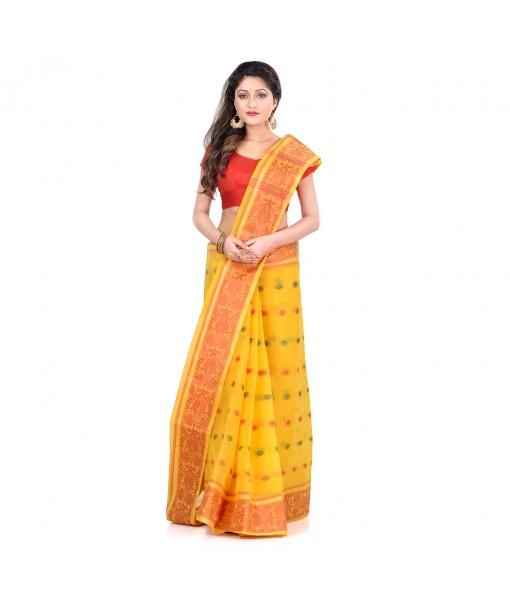 DESH BIDESH Women`s Traditional Bengal Tant Woven Bee Kolka Design Pure Handloom Cotton Saree Without Blouse Piece (Yellow)