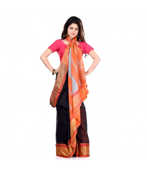 DESH BIDESH Women`s Handloom Cotton Silk Saree Jacquard Maheswari Design Zari Work With Blouse Piece(Black Orange)